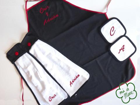 Conjunto cocina: delantal, agarradores, manoplas, paños,…